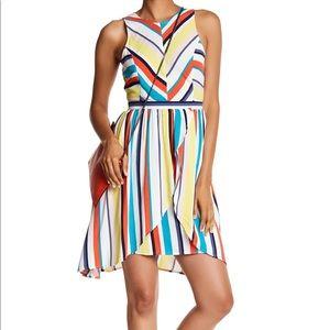 Colorful stripe ruffle dress